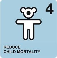 Logo del quarto degli Obiettivi ONU di Sviluppo del Millennio, Ridurre la mortalità infantile; raffigura un giocattolo stilizzato su sfondo celeste.