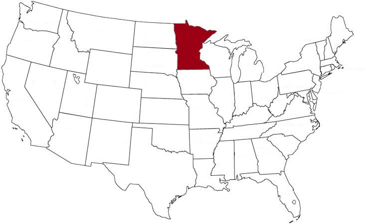 Minnesota is highlighted on the U.S. map.