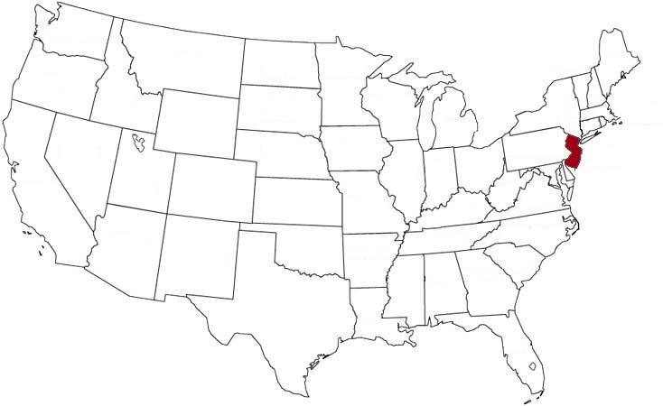 Il New Jersey evidenziato nella mappa degli Stati Uniti