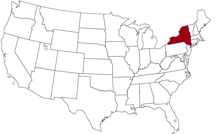 New York is highlighted on the U.S. map.