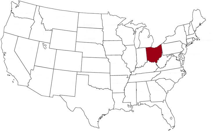 Ohio is highlighted on the U.S. map.