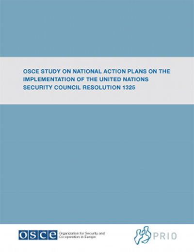 "Sfondo azzurro, al centro scritta ""OSCE Study on National Action Plans on the Implementation of the United Nations Security Council Resolution 1325"", in basso a sinistra Logo Osce, in basso a destra logo Peace Research Istituto di Osolo"