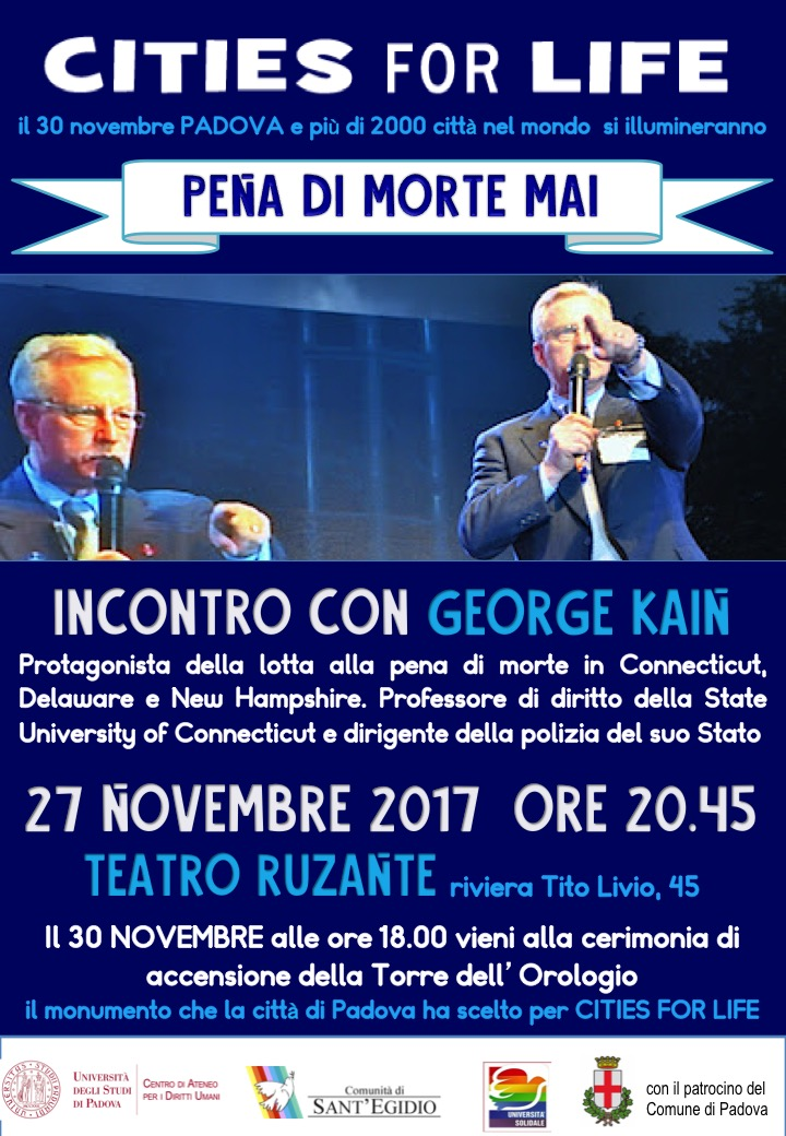 Sant'Egidio, Locandina, Cities for life, Incontro con George Kain