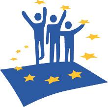 Sagome saltano sulla bandiera UE