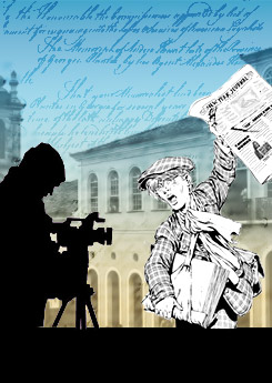 Symbolic poster that shows freedom of the press, with an image of a boy holding a newspaper and a camera.