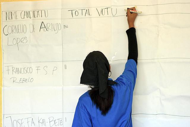 Un osservatore elettorale conta i voti in un seggio elettorale a Timor Est, nell'ambito di una missione delle Nazioni Unite, 2005