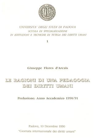 Locandina di un convegno in occasione della Giornata internazionale dei diritti umani 1990, Università di Padova, Sala dei Giganti, 10 dicembre 1990