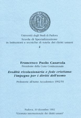 Locandina di un convegno in occasione della Giornata internazionale dei diritti umani 1992, Università di Padova, Sala dei Giganti, 10 dicembre 1992.
