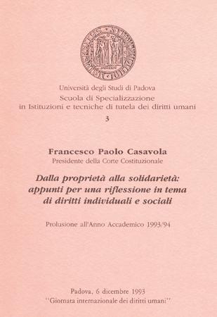 Locandina di un convegno in occasione della Giornata internazionale dei diritti umani 1993, Università di Padova, Sala dell'Archivio Antico, Palazzo del Bo, 6 dicembre 1993.