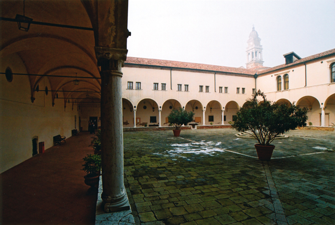 The cloister of the Monastery of San Nicolò, Head Office of the European Master in Human Rights and Democratization, Venice Lido