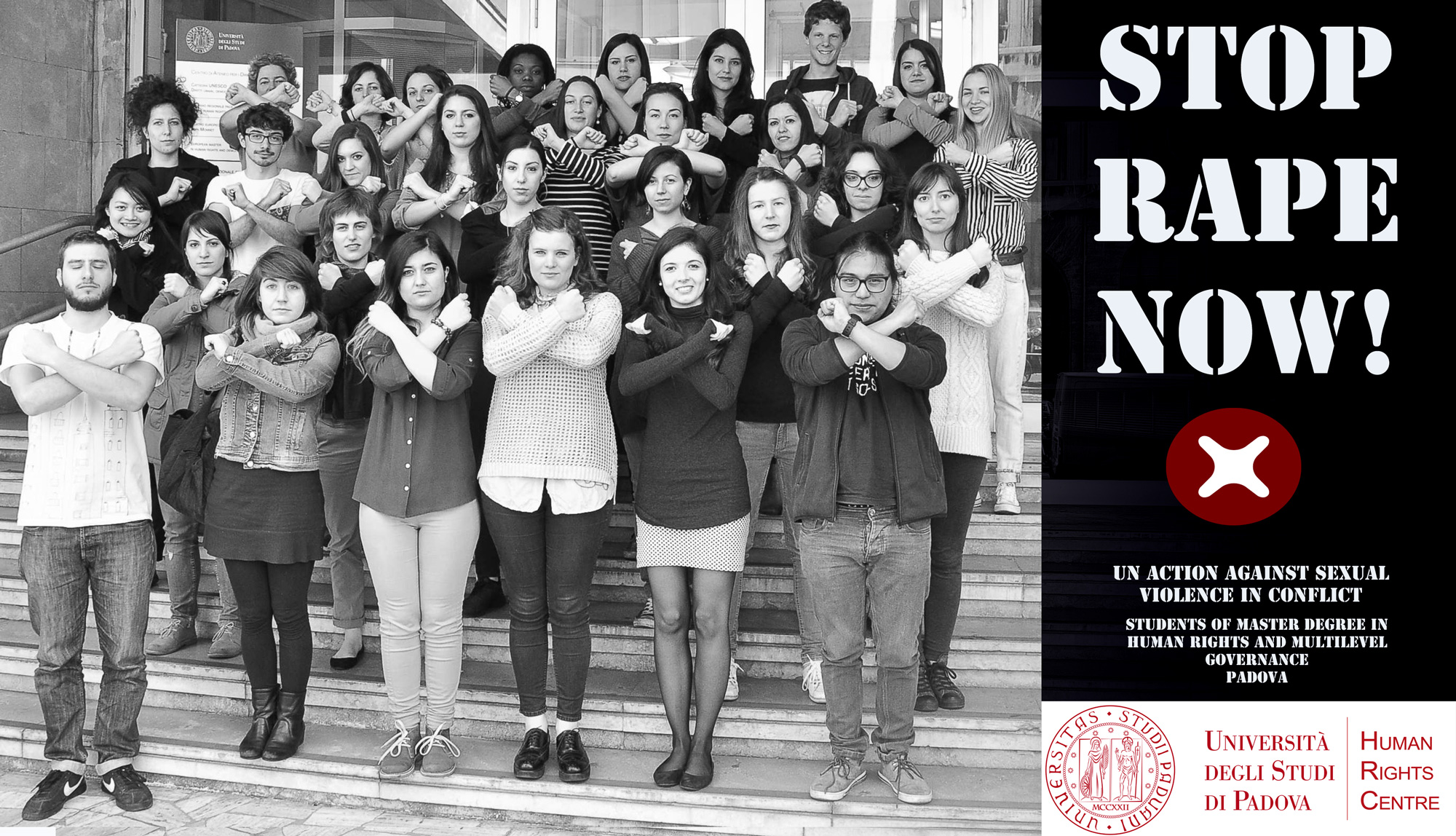 Students of the Master's Degree in Human Rights and Multi-level Governance, A.A. 2014/2015 take a picture with their arms crossed to join the UN global campaign Stop rape now