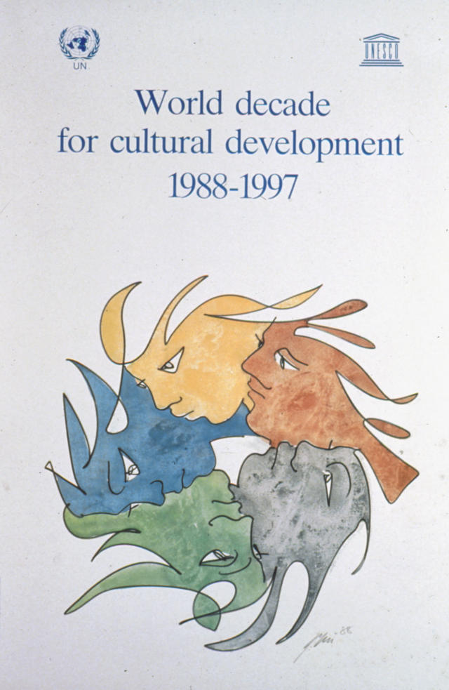 Poster dell'UNESCO per la decade mondiale per lo sviluppo culturale, 1988-1997