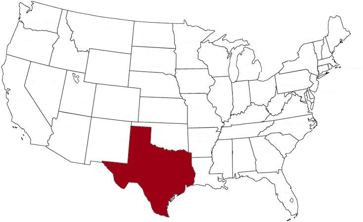 Texas is highlighted on the U.S. map.