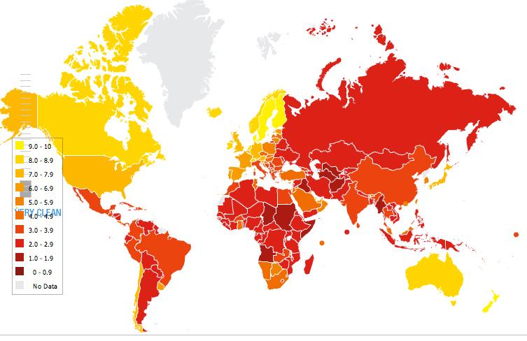 Mappa dell'indice di percezione della corruzione 2010