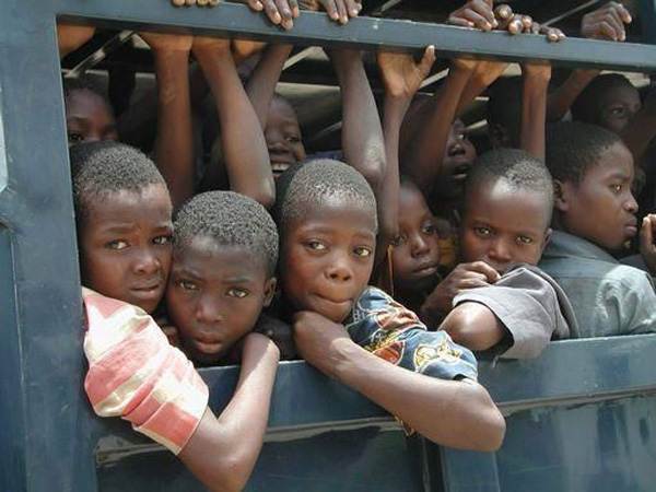 Children inside in a truck