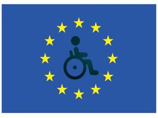 Logo del Consorzio Parsifal. Rappresentazione di una persona in sedia a rotelle posta al centro della bandiera dell'Unione Europea