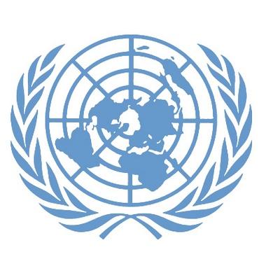 Il simbolo ufficiale delle Nazioni Unite raffigurante la proiezione stereografica polare del globo terrestre attorniata da due rami di alloro