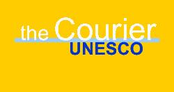 Logo testuale della Rivista UNESCO Courier, creata nel 1947, che raccoglie articoli di approfondimento sui diversi argomenti trattati nei vari settori dell'UNESCO