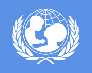 UNICEF logo, United Nations fund for childhood, representing a woman and baby silhouette inside a stylized globe
