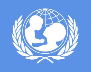 Il logo dell'UNICEF, Fondo delle Nazioni Unite per l'Infanzia, che rappresenta la sagoma di una donna e un bambino in un globo stilizzato
