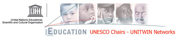 "The Logo of UNESCO: Written below ""Education UNESCO Chair UNITWIN Networks."""