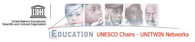 """Logo UNESCO """"Education UNESCO Chair UNITWIN Networks"""", raffigurante visi di persone di varie età e colore della pelle."""