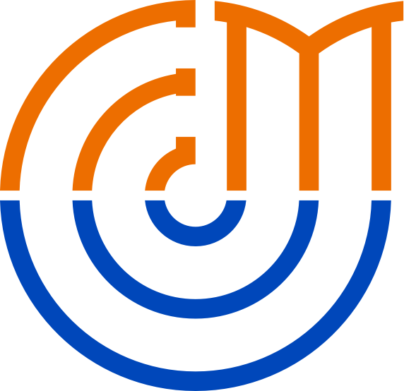 Logo of Euromediterranean University representing an E letter and an M letter composing the upper side of a circle. The lower part, a blu half-cycle, represents the Mediterranean Sea.