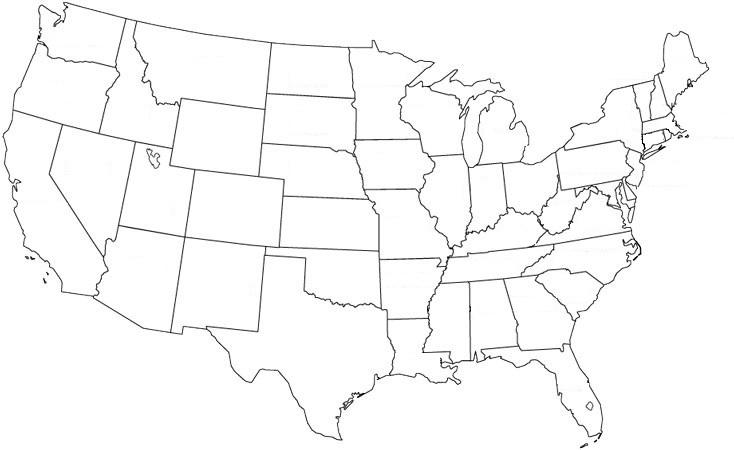 Cartina Fisica Muta Usa.Cartina Politica Muta Stati Uniti D America
