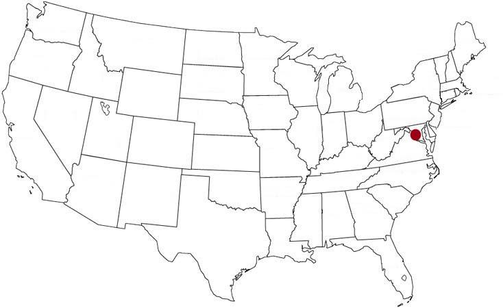 Washington, D.C. evidenziato nella mappa degli Stati Uniti