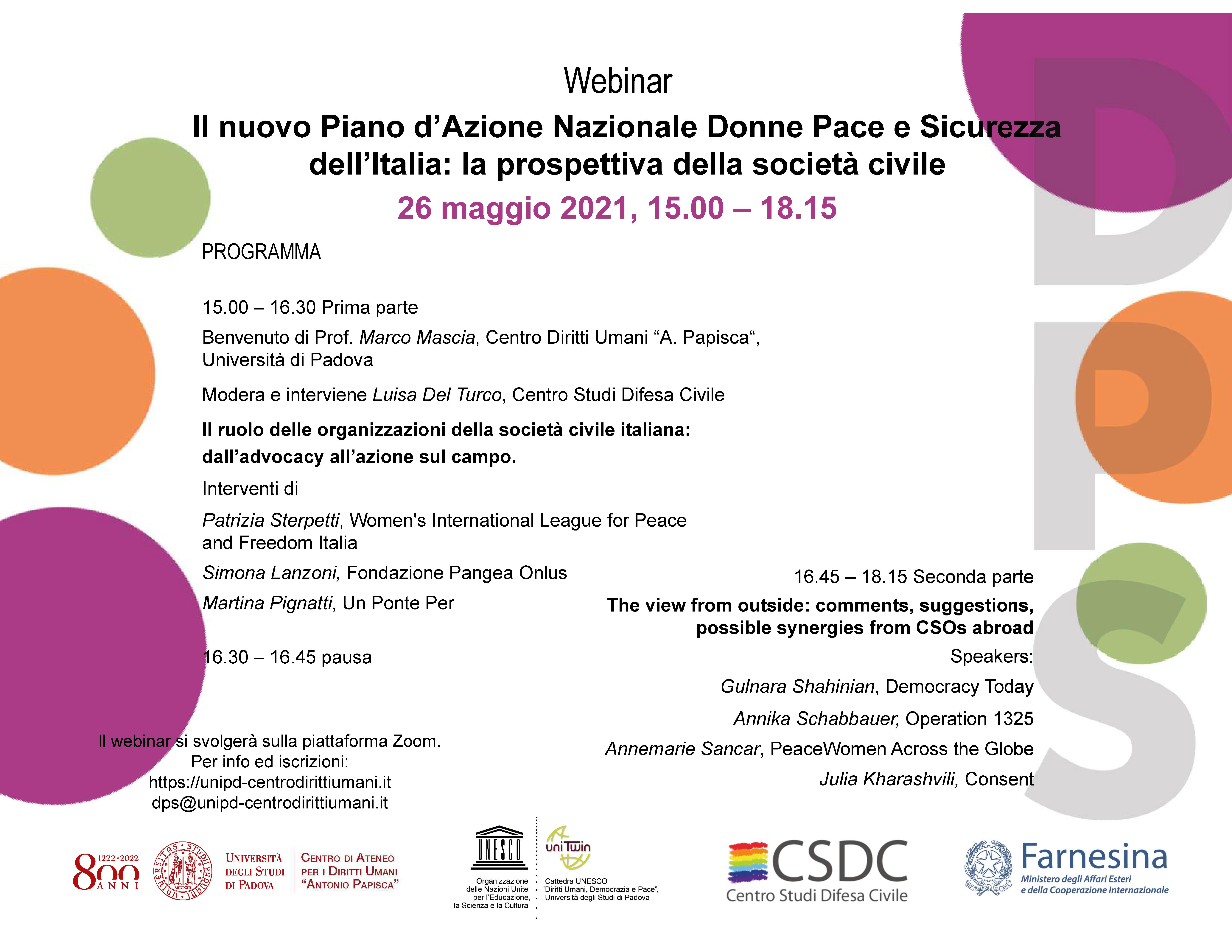 Webinar Il nuovo Piano d'Azione Nazionale Donne, Pace e Sicurezza dell'Italia: la prospettiva della società civile, 26 maggio 2021