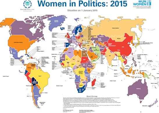 cartina del mondo riportante gli indicatori sull'uguaglianza di genere in politica