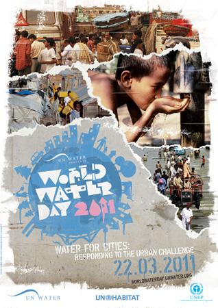 """Poster delle Nazioni Unite per la Giornata mondiale dell'acqua """"Water for Cities"""", 2011"""