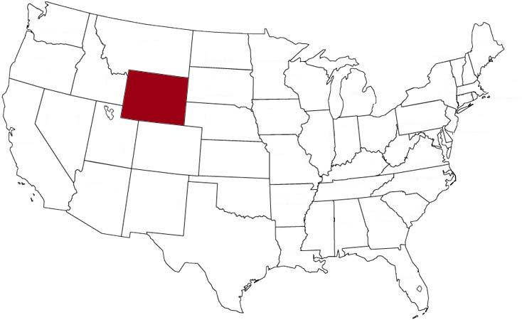 Il Wyoming evidenziato nella mappa degli Stati Uniti