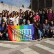 Group shot of students and  National Civil Service volunteers  of the University of Padua in Assisi, 18 October 2014.