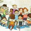 disegno di bambini con cartelli con scritti i loro diritti