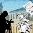 Poster delle Nazioni Unite che raffigura un ragazzo con in mano un giornale e un cameraman, a simboleggiare la libertà di stampa