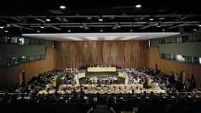 Ampia veduta di una seduta del Consiglio Economico e Sociale delle Nazioni Unite (ECOSOC), New York (USA)
