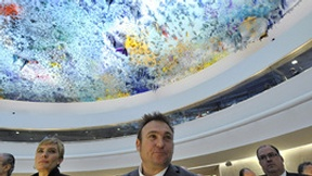 Presentation of the new vault in the conference room of the Human Rights Council, in the presence of the Spanish artist who painted it, Miquel Barcelo.