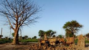Villaggio di Manyang, in Sudan, al termine degli scontri armati. I resti di una capanna distrutta durante gli scontri vicino ad un grande albero spoglio