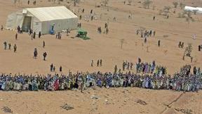 Vista aerea di un gruppo di rifugiati di Iridimi, in Chad.