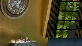 Voting at the General Assembly. In the upper left, the emblem of the United Nations.