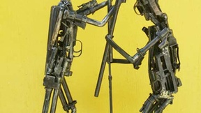 """Sculpture made of small caliber weapons, used as raw material to educative laboratories for trainee blacksmiths, from the exposition """"To Be Deter-mined/At Arms Length"""", promoted by the Cambodian government in cooperation with the European Union (1998)."""