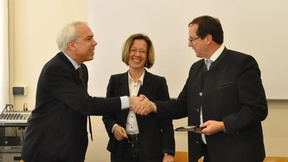 From the left: Marco Mascia, Director of the Human Rights Centre, Burgi Volgger, President of the EOI, Josef Siegele, Secretary General of the EOI.