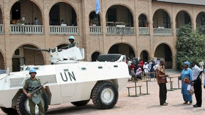 United Nations Organization Mission in the Democratic Republic of the Congo (MONUC) peacekeepers guard St. Anne Polling Station and Press Center in Kinshasa. The people of the Democratic Republic of the Congo went to the polls for the first time in more t