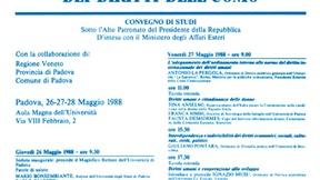 Locandina del convegno di studi in occasione del 40° anniversario della Dichiarazione Universale dei Diritti dell'Uomo, Padova, 1988