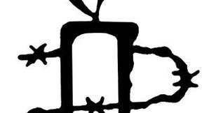 Candela nera stilizzata avvolta da filo spinato