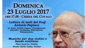 Locandina evento: Antonio Papisca, operatore di Pace, 23 luglio 2017, Chiesa del Covalo