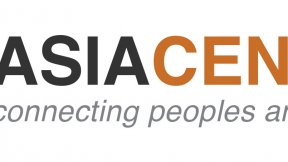 """Asia Centre logo in orange and black, with written underneath """"connecting peoples and regions"""""""