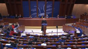 The Council of Europe Commissioner for Human Rights, Dunja Mijatović speaking at the Parliamentary Assembly