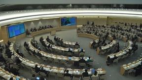 Ampia veduta della Sala XX, dove si riunisce il Consiglio Diritti umani, presso il Palazzo delle Nazioni a Ginevra, 2010.
